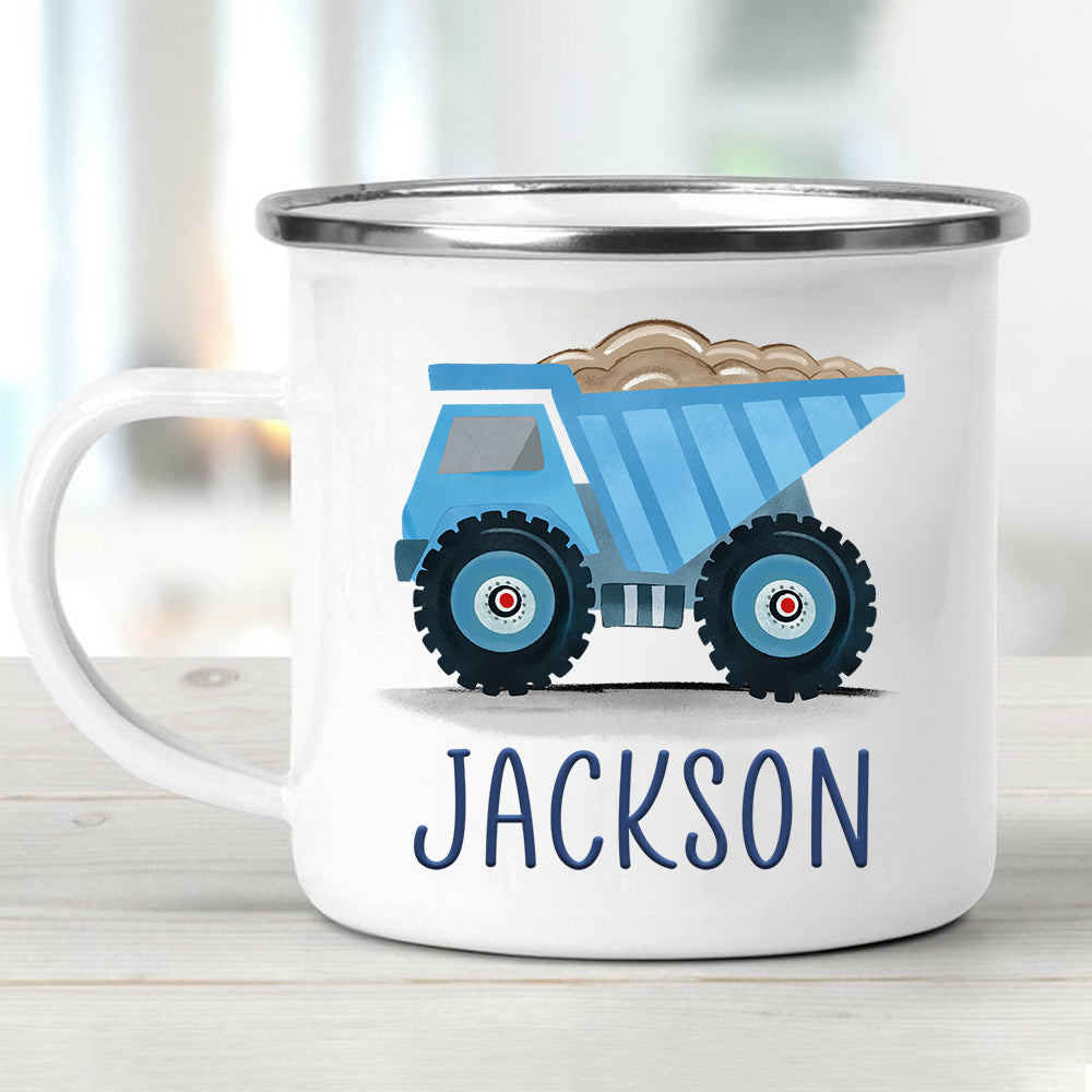 Custom Name Truck Children's Enamel Campfire Mug VI