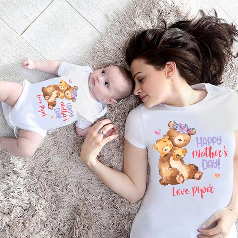 Custom Bear Mama and Baby Mother's Day Fleece Blankets