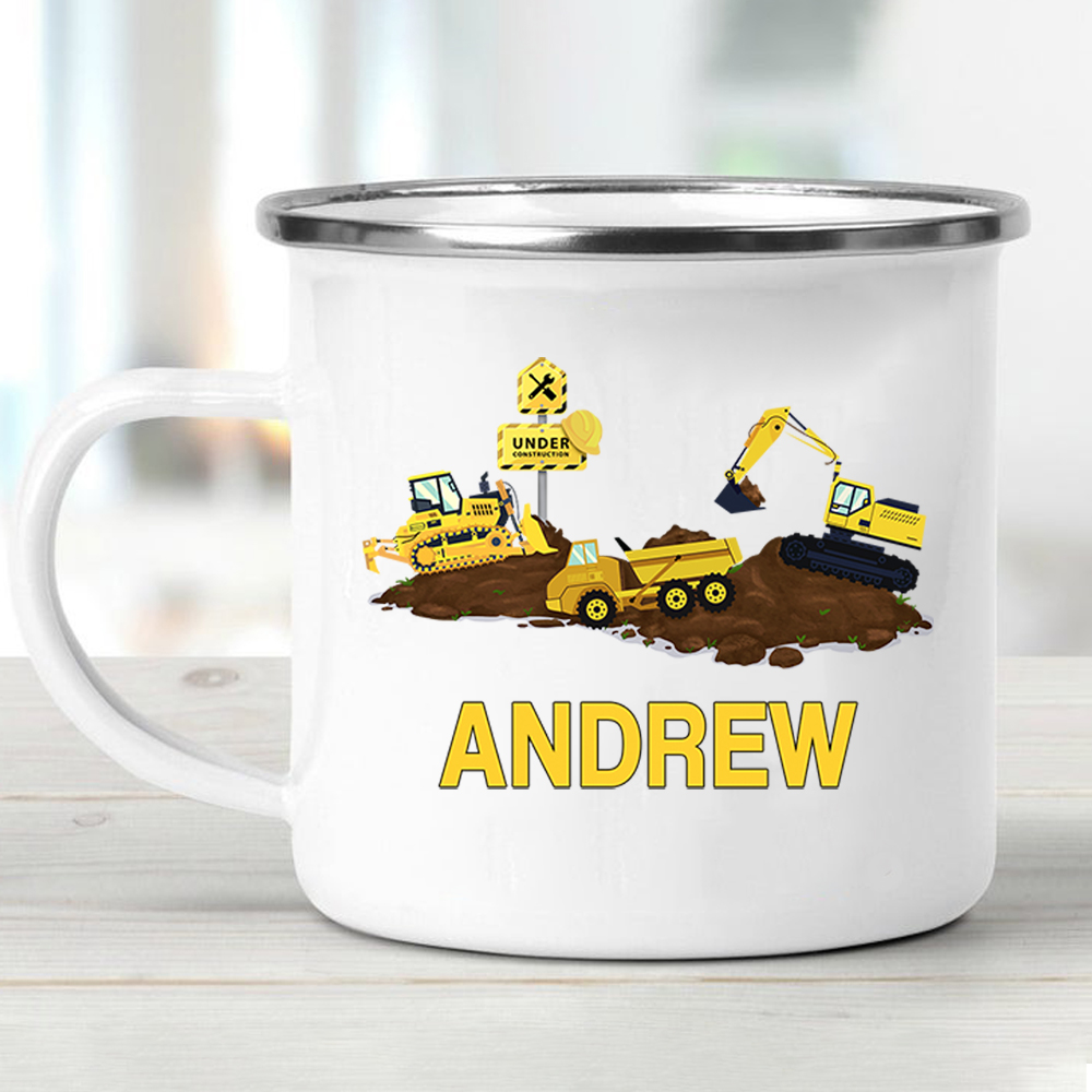 Custom Name Truck Children's Enamel Campfire Mug I