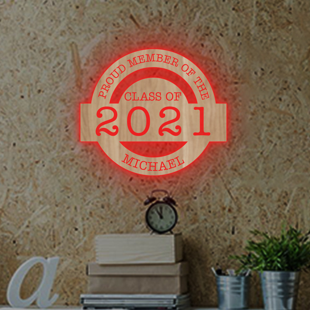 Special Personalized 7-Color Graduation Wooden Wall Night Light