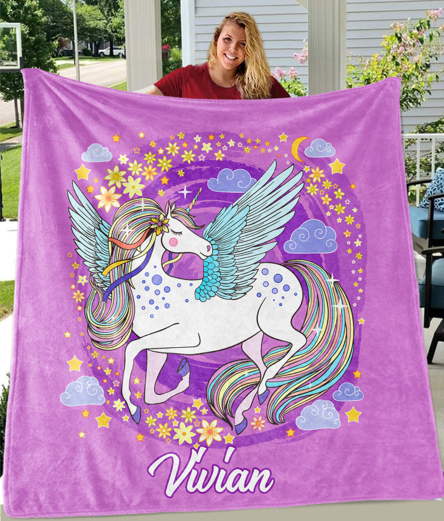 Custom Name Magical Unicorn Cozy Plush Fleece Blanket V