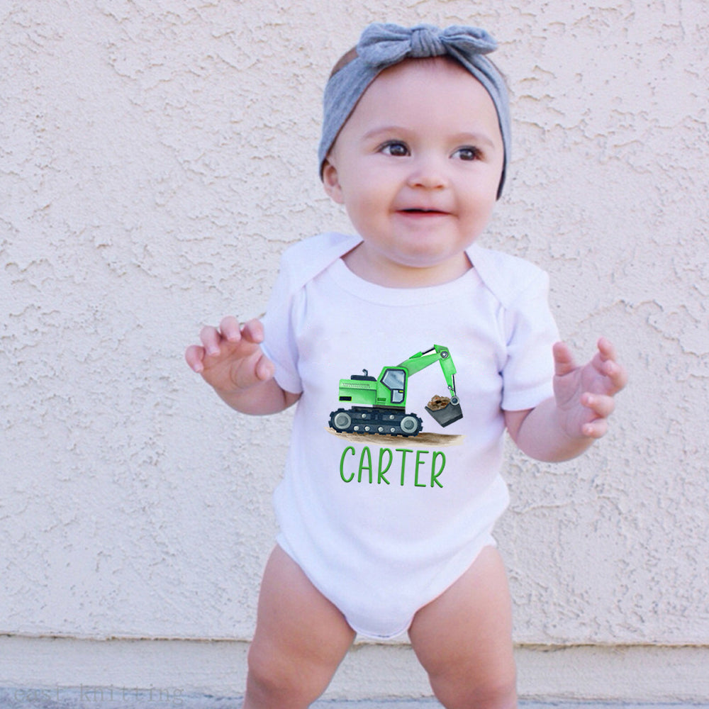 Custom Name Construction Truck Infant Fine Jersey Bodysuit I