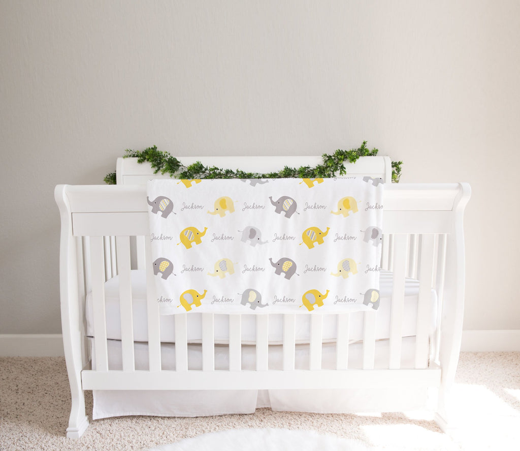 Personalized Baby Girl & Boy Elephant Blanket, Custom Name Yellow & Gray Elephant Nursery Blanket - Made in USA