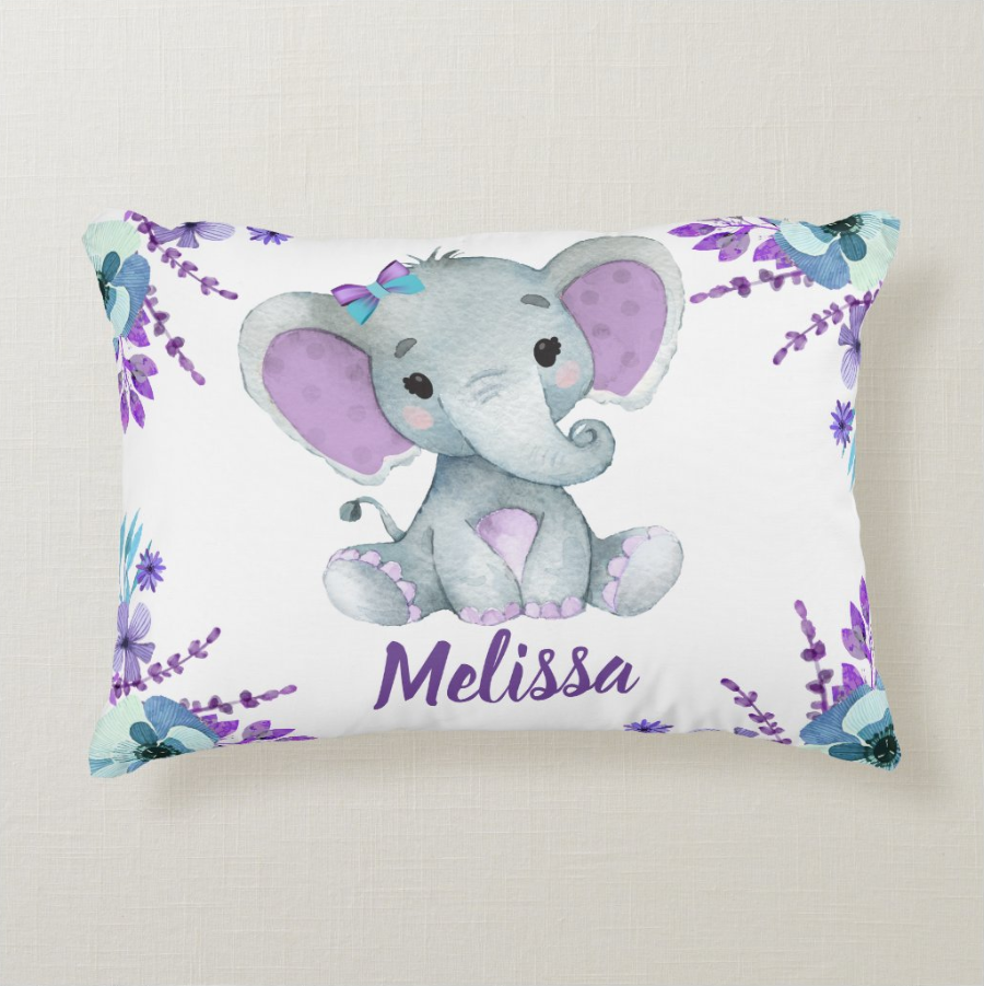 Custom Baby Girl Elephant Pillow With Name, Custom Baby Girl Throw Pillow, Personalized Baby Girl Birth Announcement Throw Pillow, Baby Girl Lovey Pillow