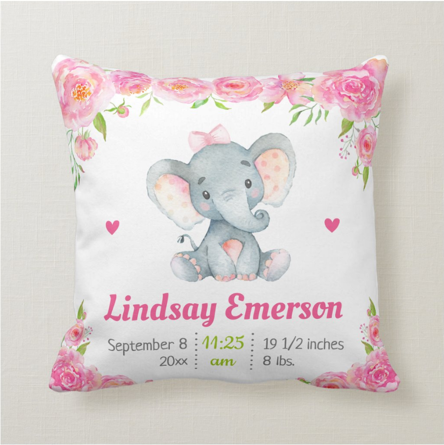 Personalized Baby Girl Elephant Pillow With Name, Custom Baby Girl Lovey Pillow, Custom Baby Girl Pillow