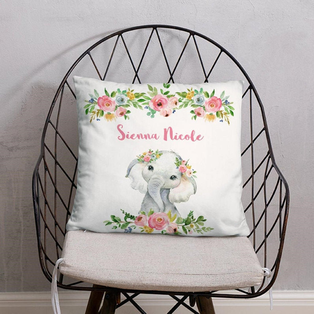 Personalized Baby Girl Elephant Pillow With Name, Custom Baby Girl Stats Throw Pillow, Personalized Baby Girl Birth Announcement Throw Pillow, Baby Girl Lovey Pillow, Custom Baby Girl Stats Pillow