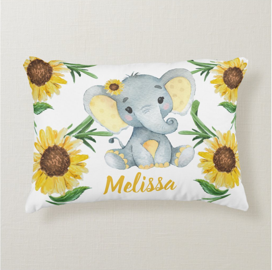 Personalized Baby Girl Elephant Pillow With Name, Custom Baby Girl Throw Pillow, Personalized Baby Girl Birth Announcement Throw Pillow, Baby Girl Lovey Pillow