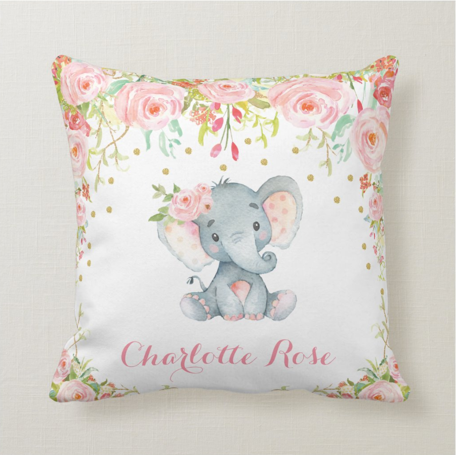 Custom Baby Girl Elephant Pillow With Name, Custom Baby Girl Stats Throw Pillow, Personalized Baby Girl Birth Announcement Throw Pillow, Baby Girl Lovey Pillow, Custom Baby Girl Stats Pillow