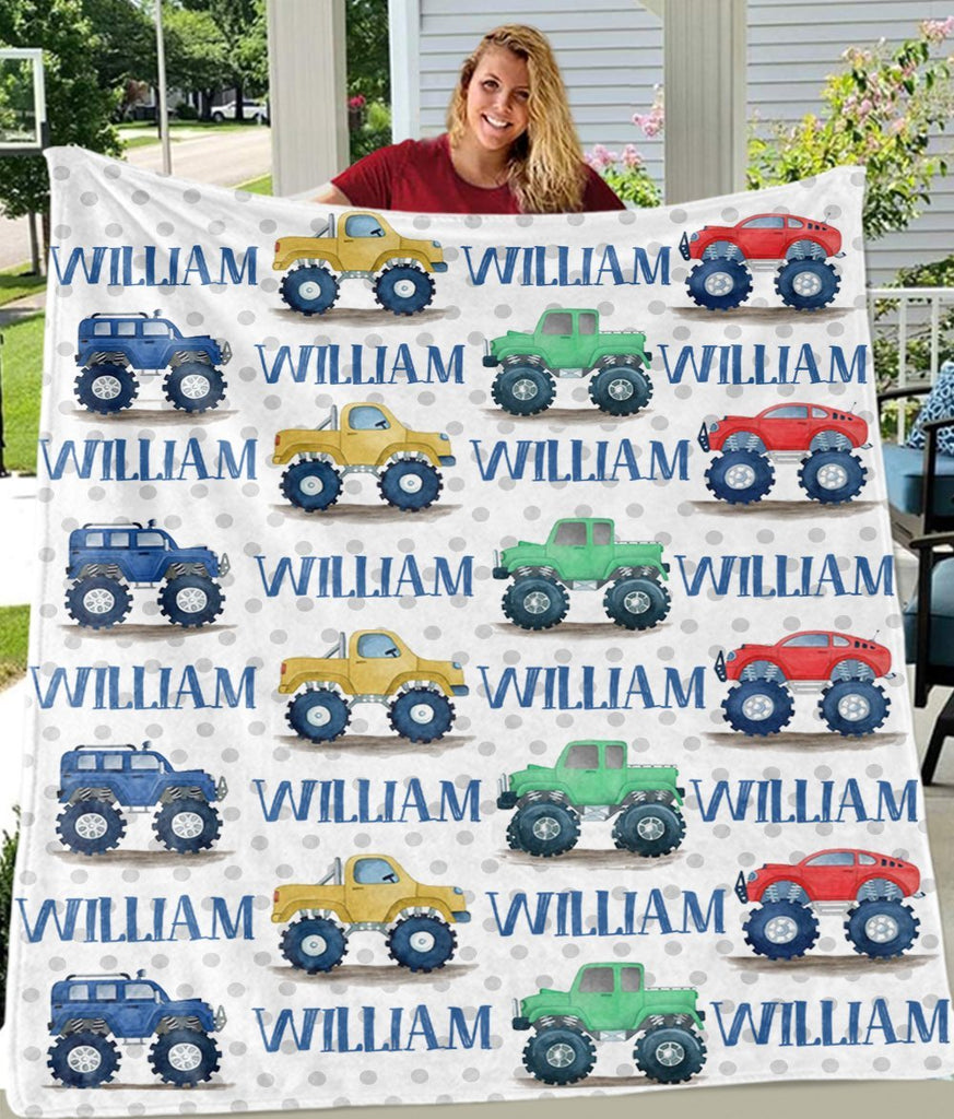 Personalized Name Monster Truck Cozy Plush Fleece Blankets