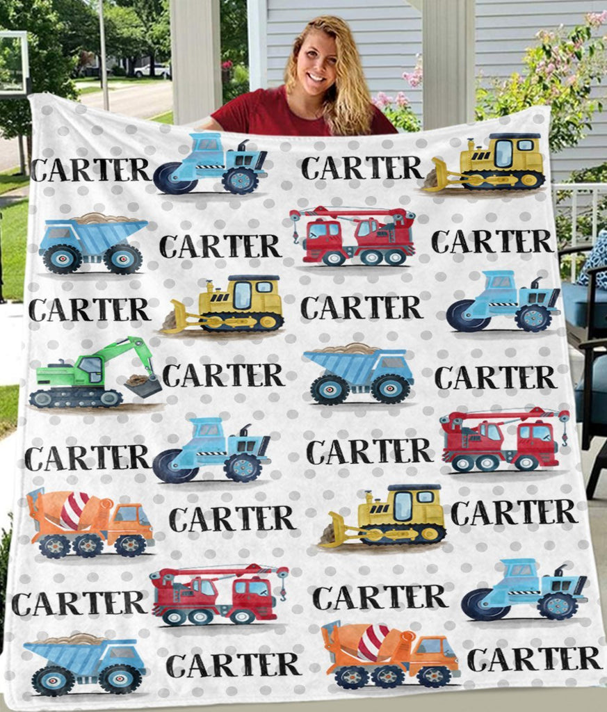 Personalized Name Construction Truck Cozy Plush Fleece Blankets