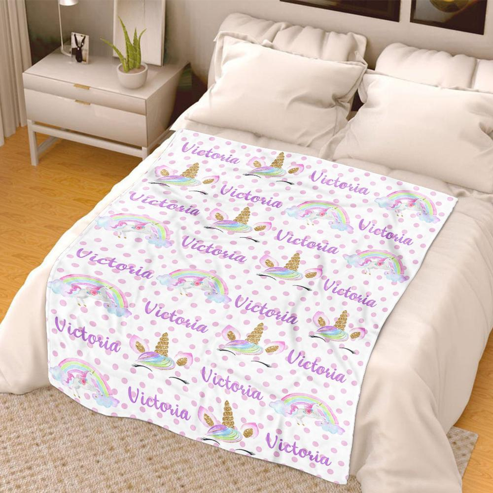 Personalized Name Unicorn Cozy Plush Fleece Blankets