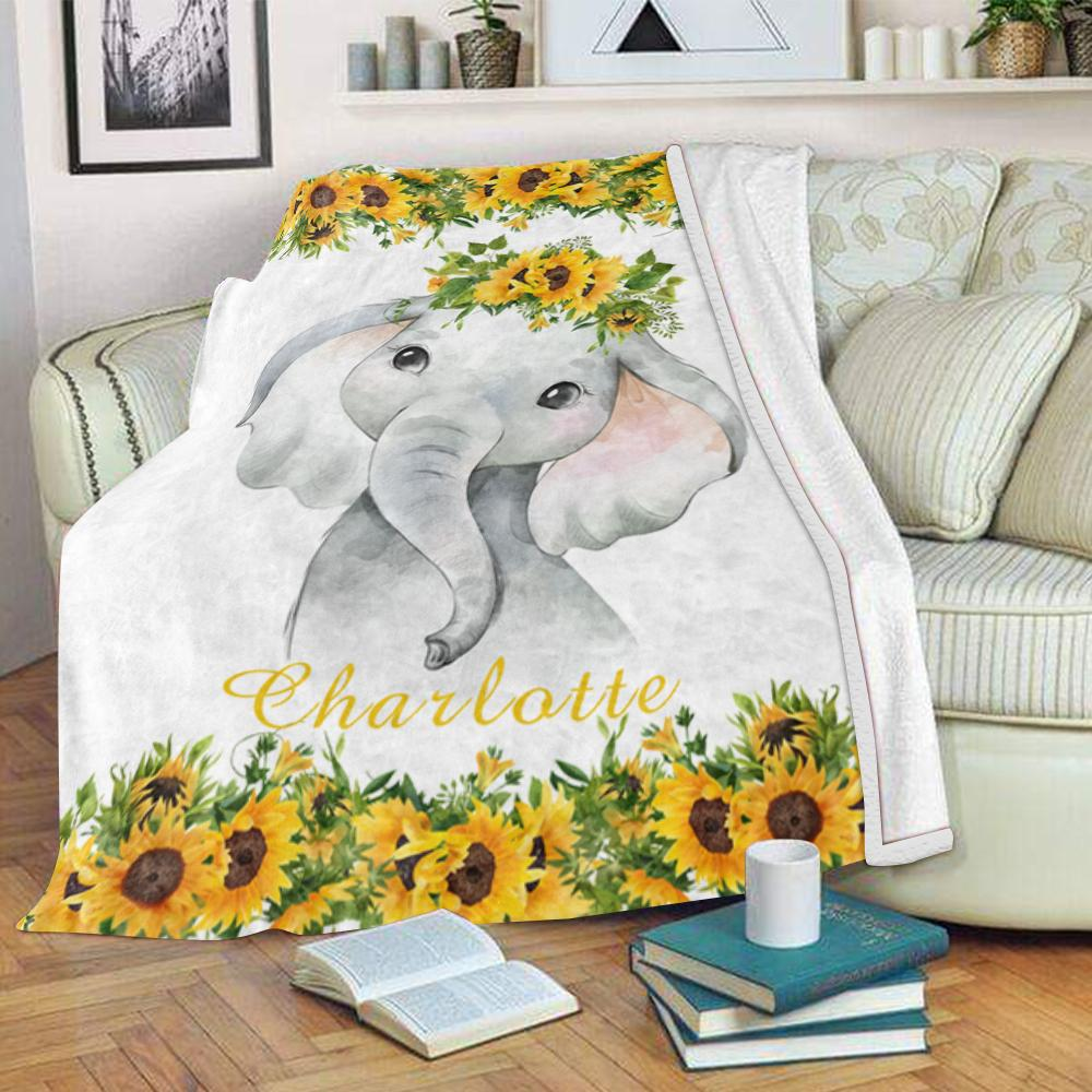 Personalized Name Baby Elephant Blankets with Sunflower