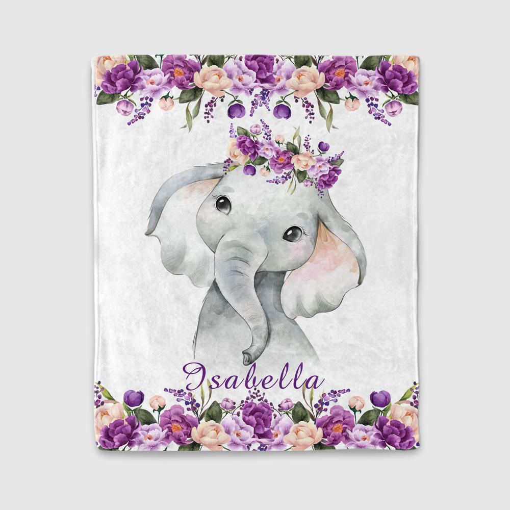Personalized Name Baby Elephant Fleece Blankets with Purple Flowers