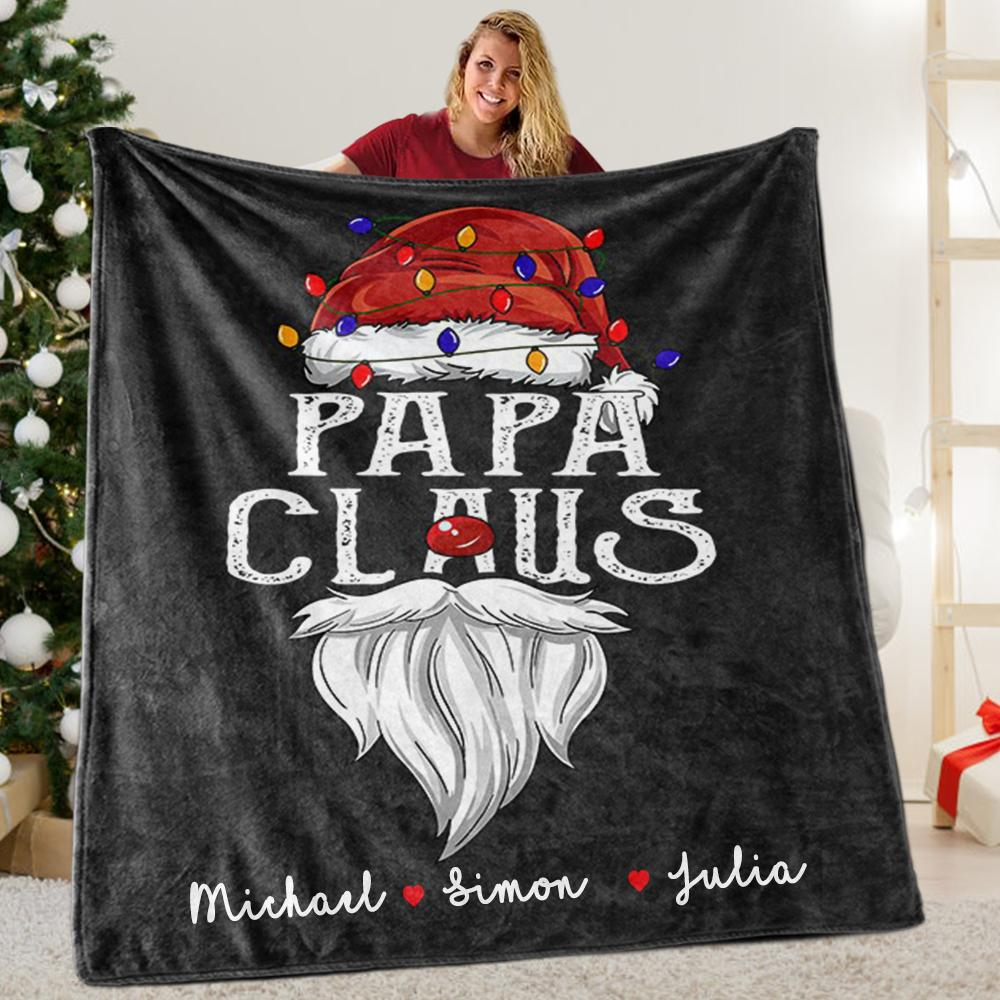 Custom Title Christmas Claus Blanket with Grandkids' Names