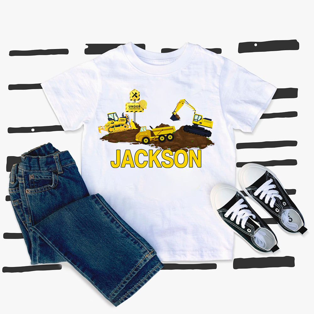 Custom Name Construction Truck Kids Heavy Cotton Tee II