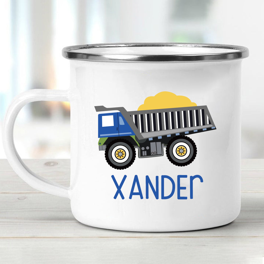 Custom Name Truck Children's Enamel Campfire Mug XXI