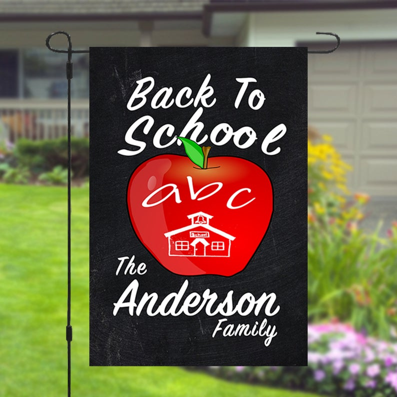 Back To School Apple Personalized Custom Family Name Garden Banner Flag 12x18
