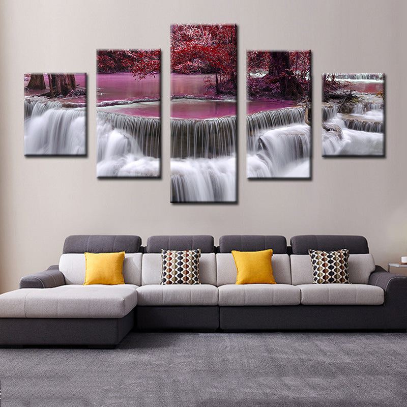 Purple Tree & Waterfall 5 Panel Canvas Art Painting Modern Home Decor