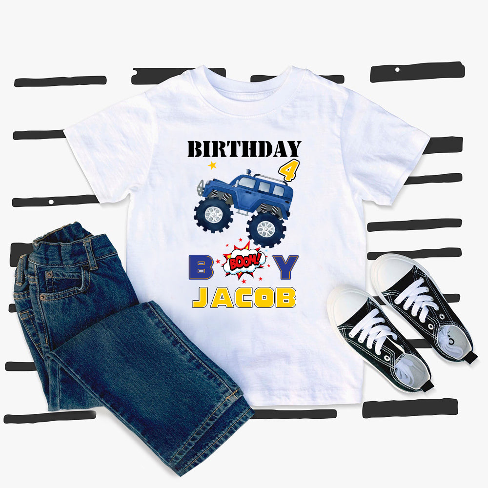 Custom Name Monster Truck Kids Heavy Cotton Birthday Tee V