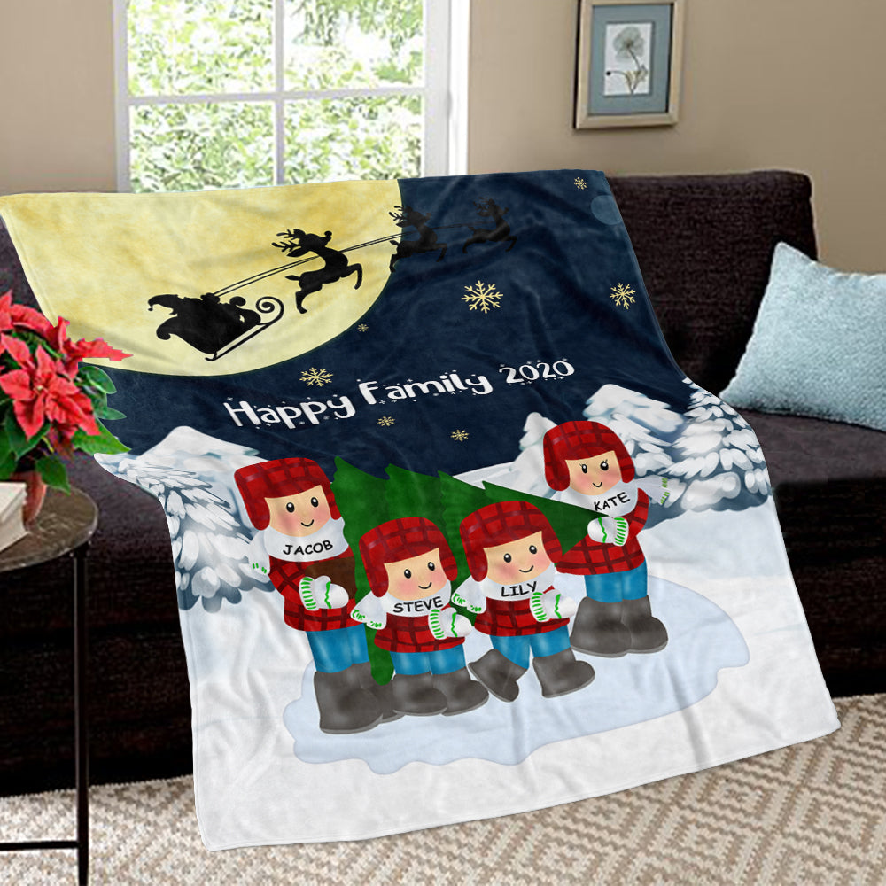 Personalized Christmas Family Member Fleece Blanket
