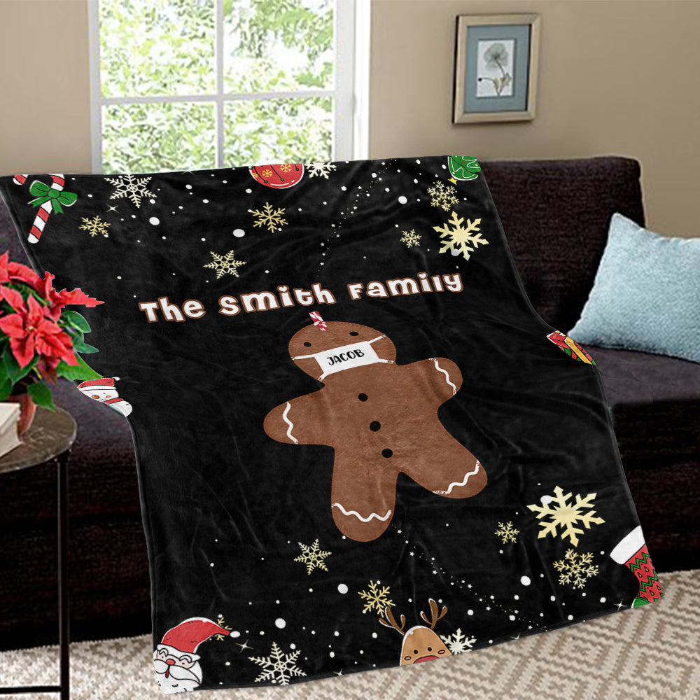 Personalized Gingerbread Christmas Family Member Fleece Blanket III