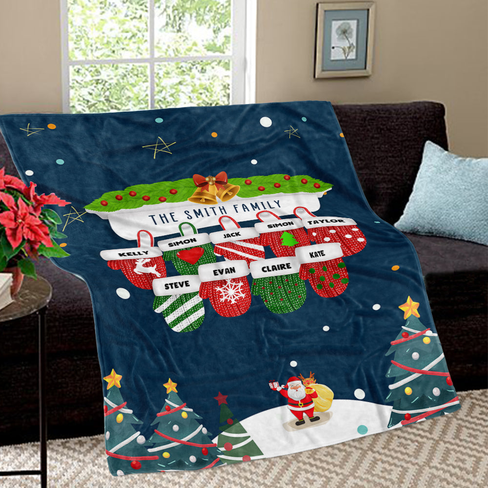 Personalized Christmas Gloves Family Member Fleece Blanket II