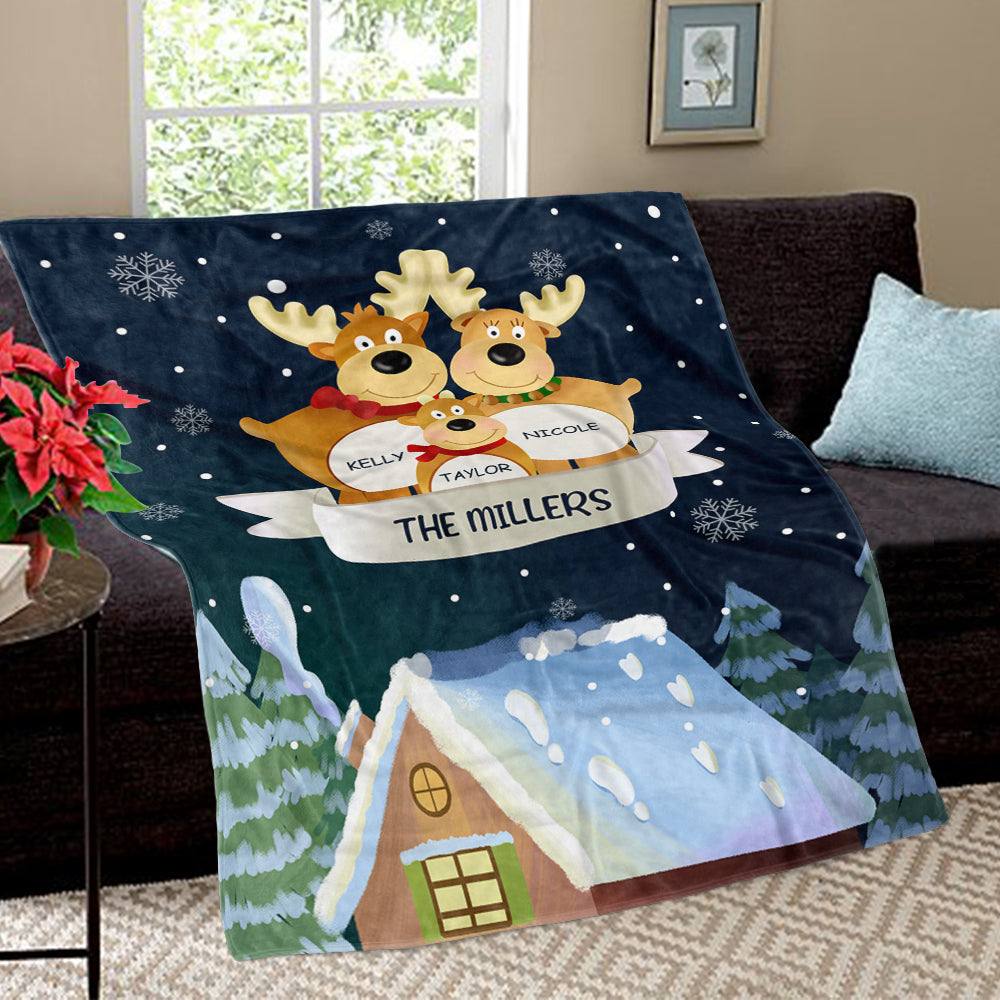 Personalized Christmas Deer Family Member Fleece Blanket