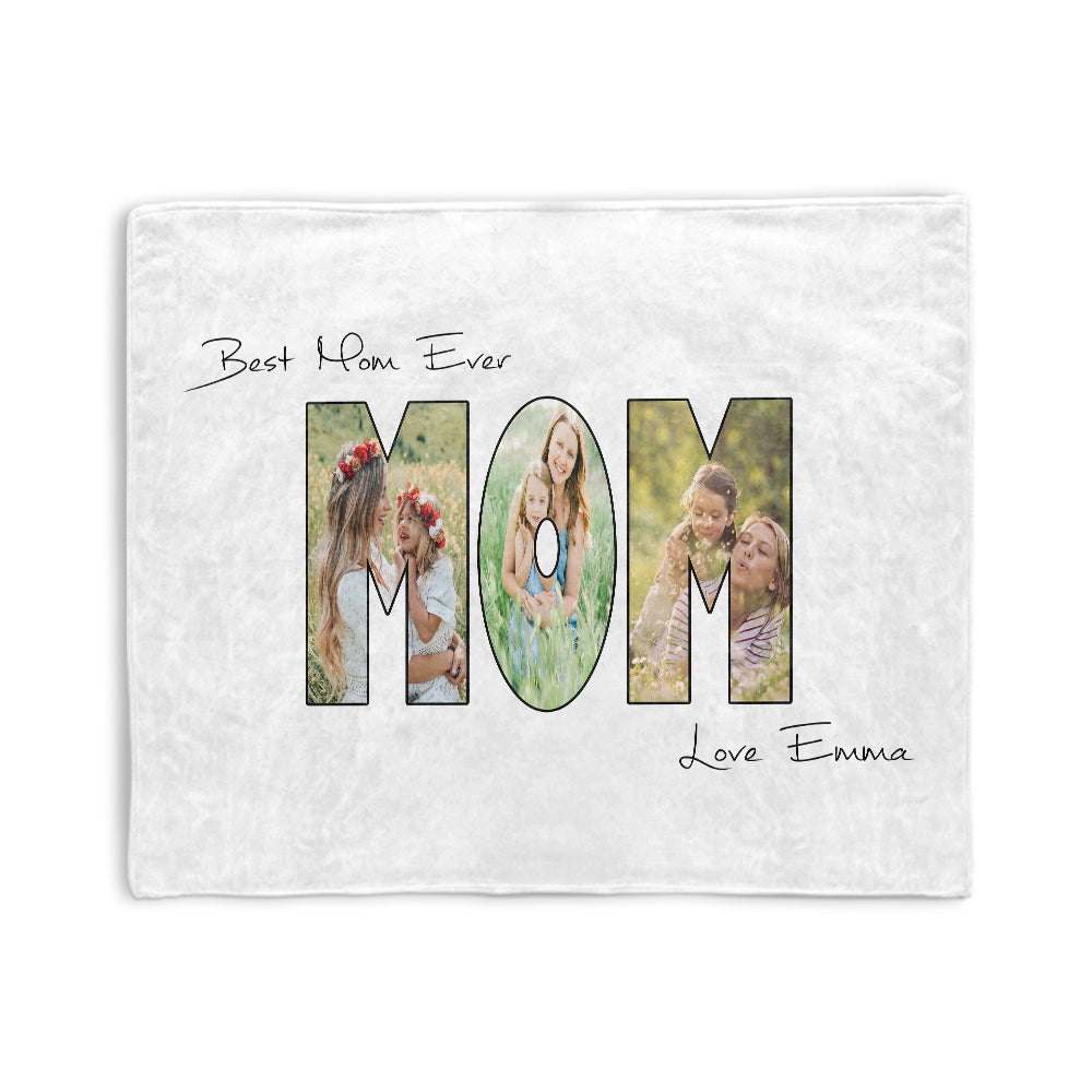 Personalized Mom Photo Collage Fleece Blanket