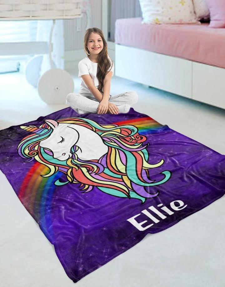 Custom Name Unicorn Velveteen Plush Blanket I - Made in USA
