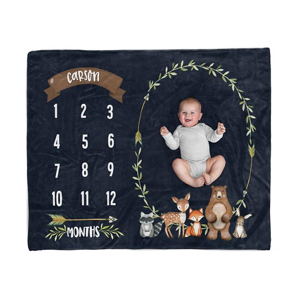 Personalized Baby Milestone Photo Prop Blanket