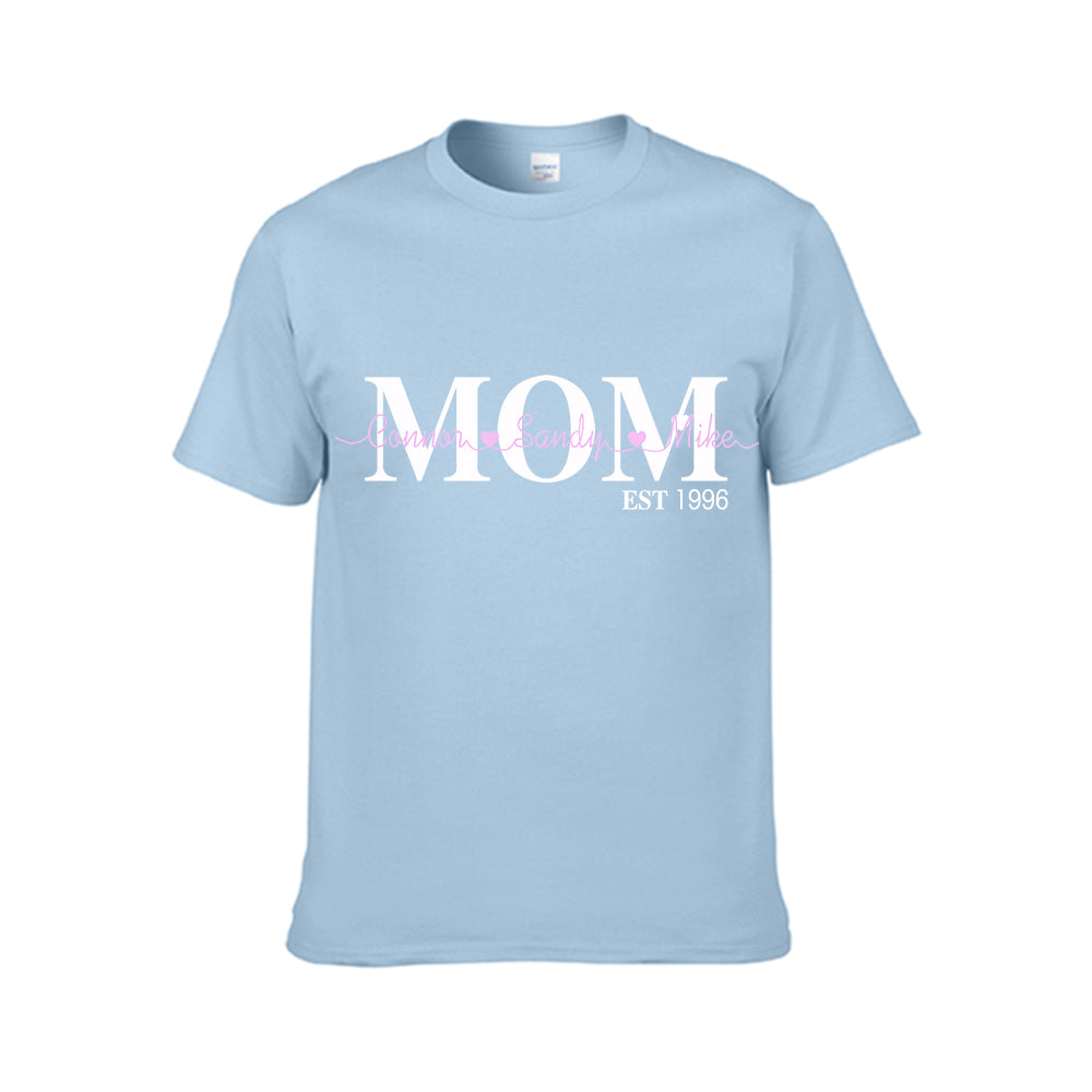 Family Member Personalized Kids Names Est Year Custom Tee - Ladies Tee
