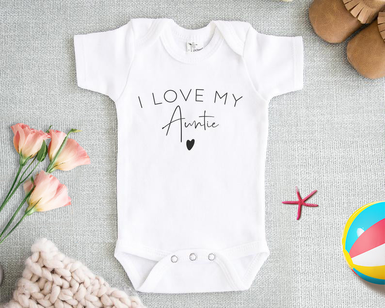 Personalized Aunt Baby Onesie, Customized Cute I Love My Auntie Onesie, Custom Aunt Shirt