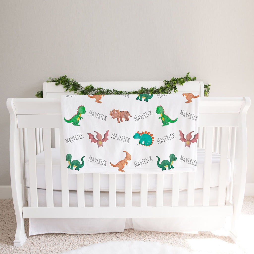 Personalized Dinosaur Watercolor Print Baby Name Blanket-Made in USA