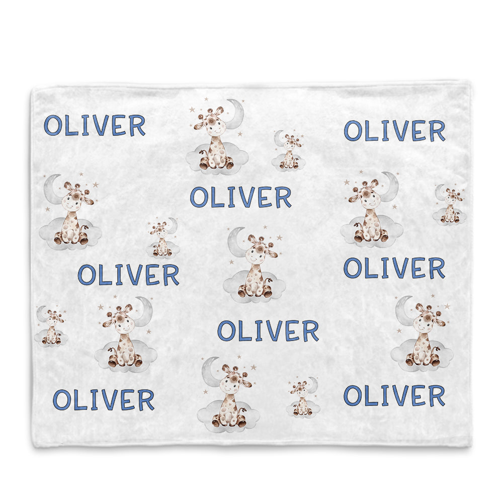 Personalized Name Giraffe Fleece Blankets for Boys - BUY 2 SAVE 10%