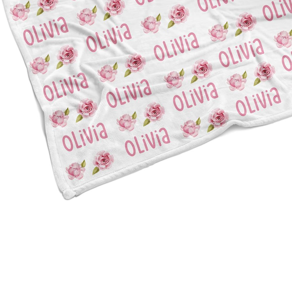 Custom Name Pink Flower Blanket
