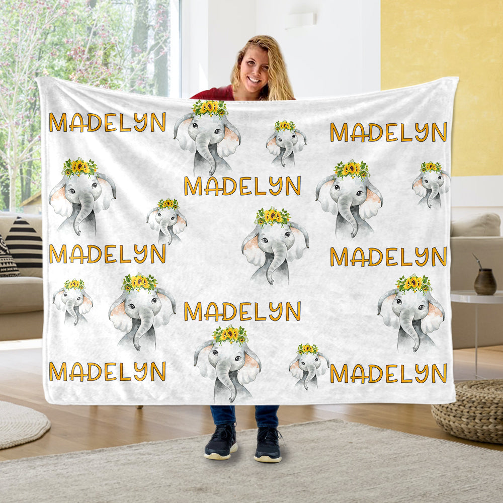 Personalized Name Sunflower Elephant Fleece Blankets