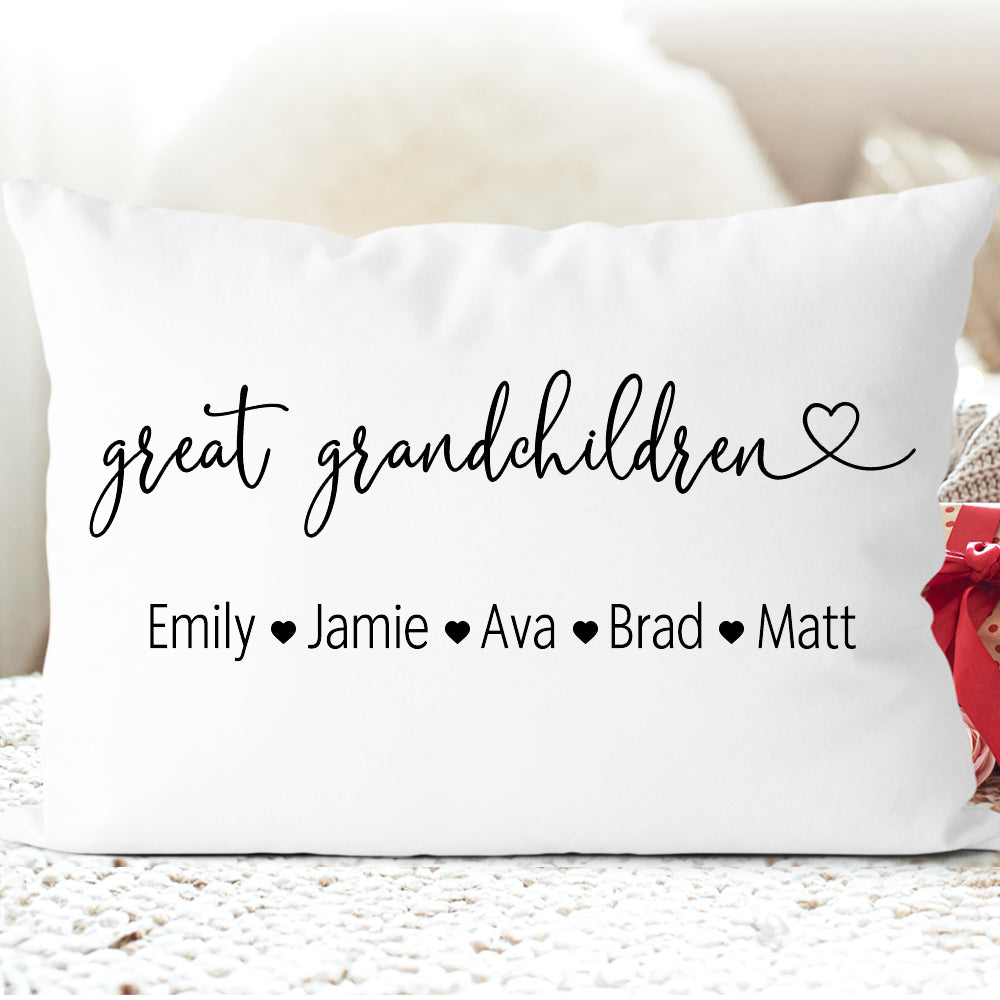 Personalized GrandKids Name Pillowcase I, Custom Mothers Day Gift for Great Grandparents
