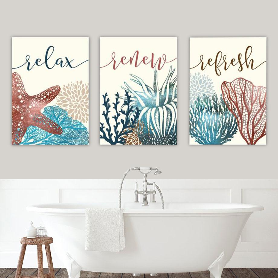 Ocean Theme Bathroom Canvas Art Set