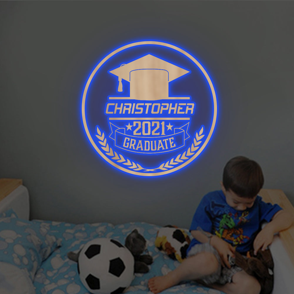 Personalized 7-Color Graduation Wooden Wall Light-Custom Name Home Kid Room Décor