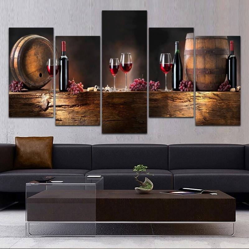 Modern Red Wine Glass 5 Panel Canvas Art Painting