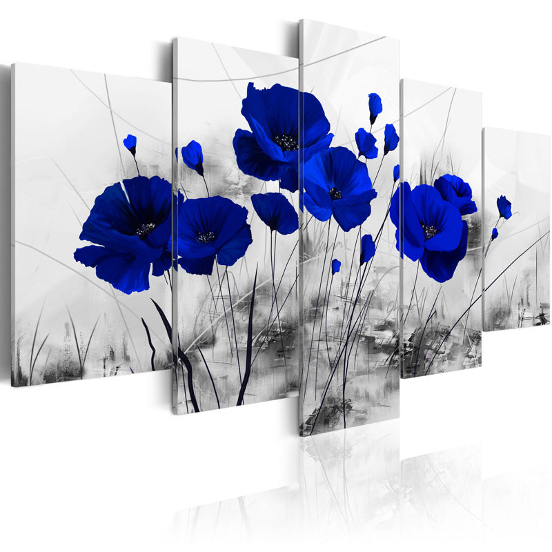 Blue Floral Modern Canvas Art Painting