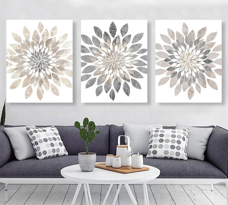 Modern Flower Bursts Wall Art Set