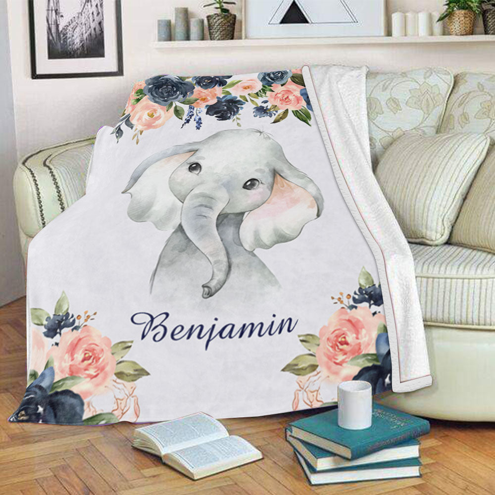 Personalized Name Baby Boy Fleece Blankets with Floral Elephant