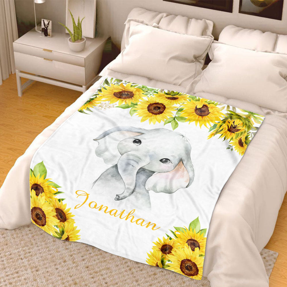 Personalized Name Baby Boy Fleece Blankets with Sunflower Elephant