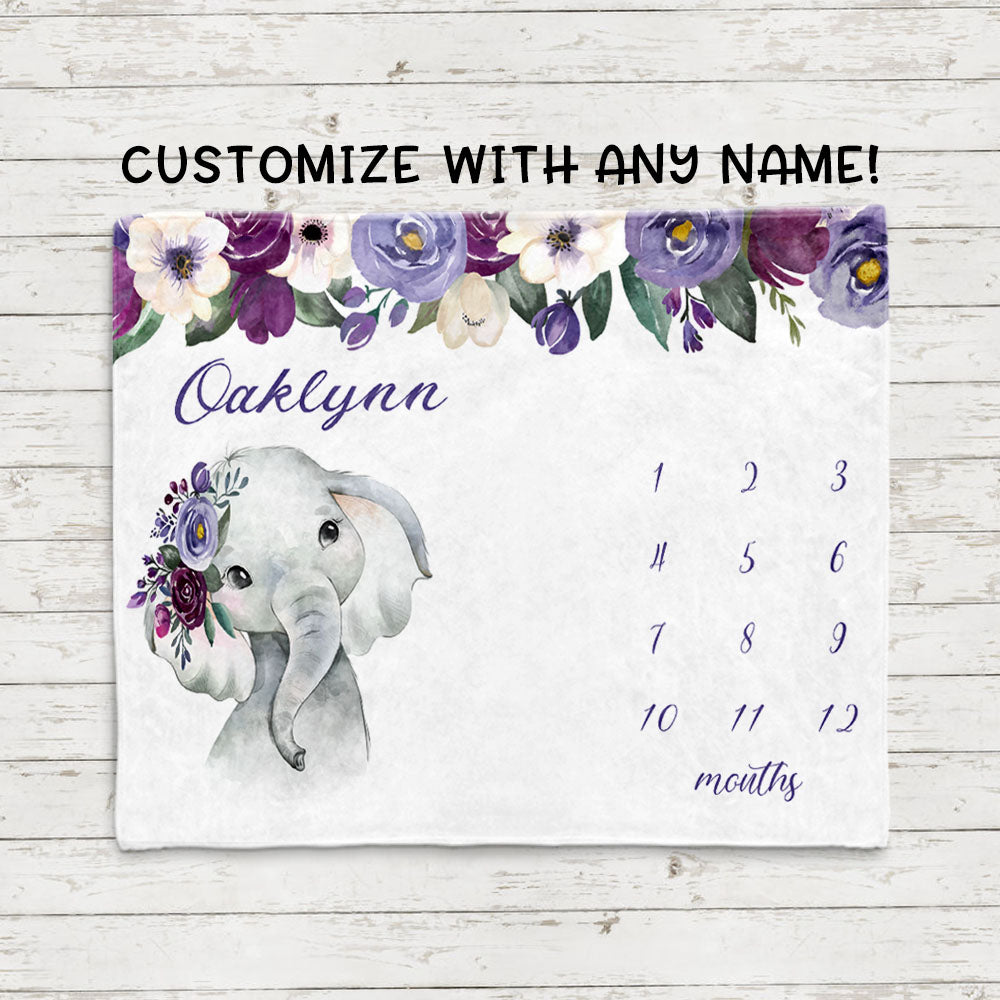 Personalized Baby Girl Milestone Blankets, Baby Girl Elephant Blankets, Baby Shower Gift