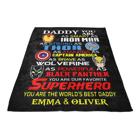 Custom Fleece Blankets with Nickname & Kids' Names IV - Perfect Birthday Holiday Gifts for Dad Uncle & Grandpa