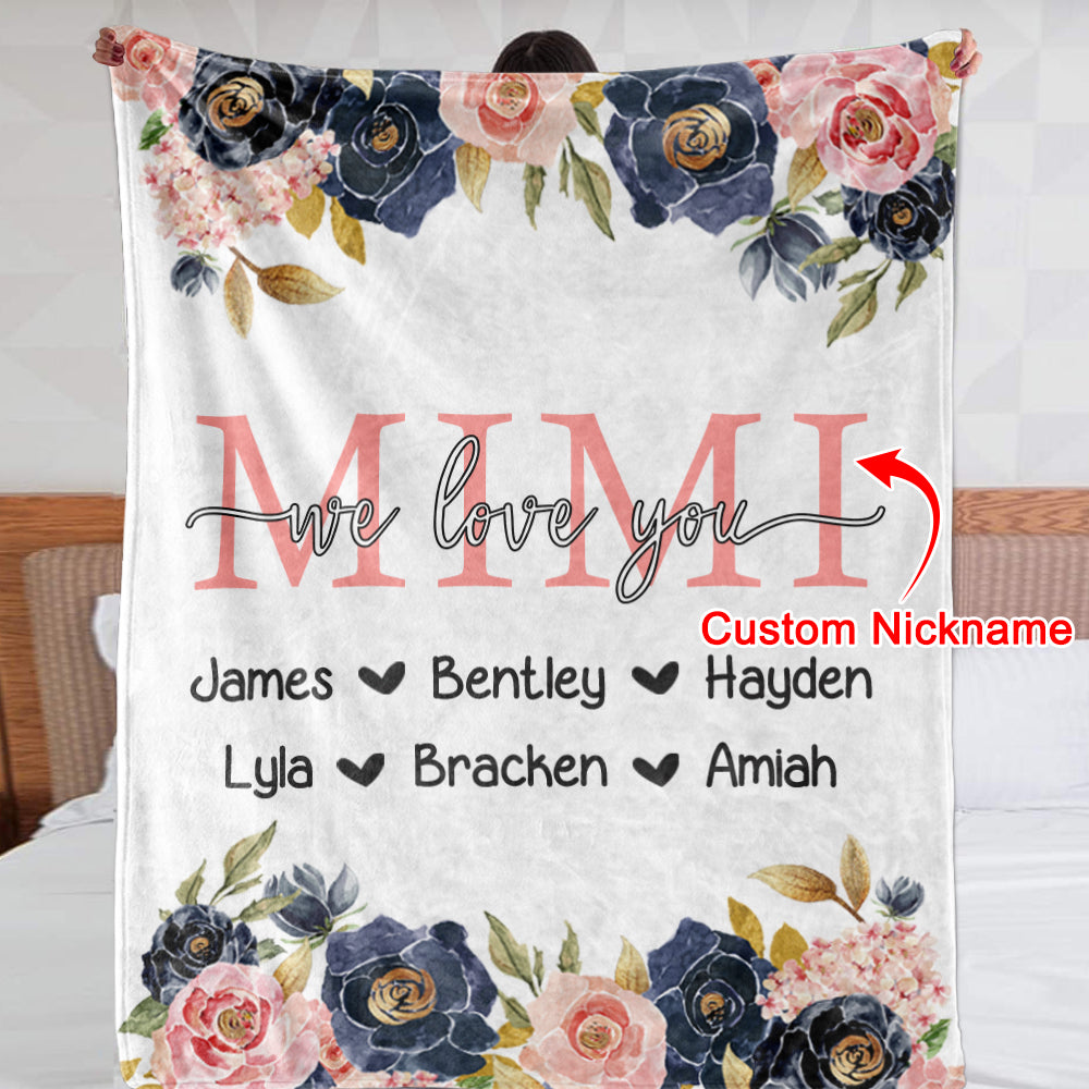 Custom Navy & Pink  Floral Cozy Plush Fleece Blankets with Your Nick & Kids' Names - BUY 2 SAVE 10%