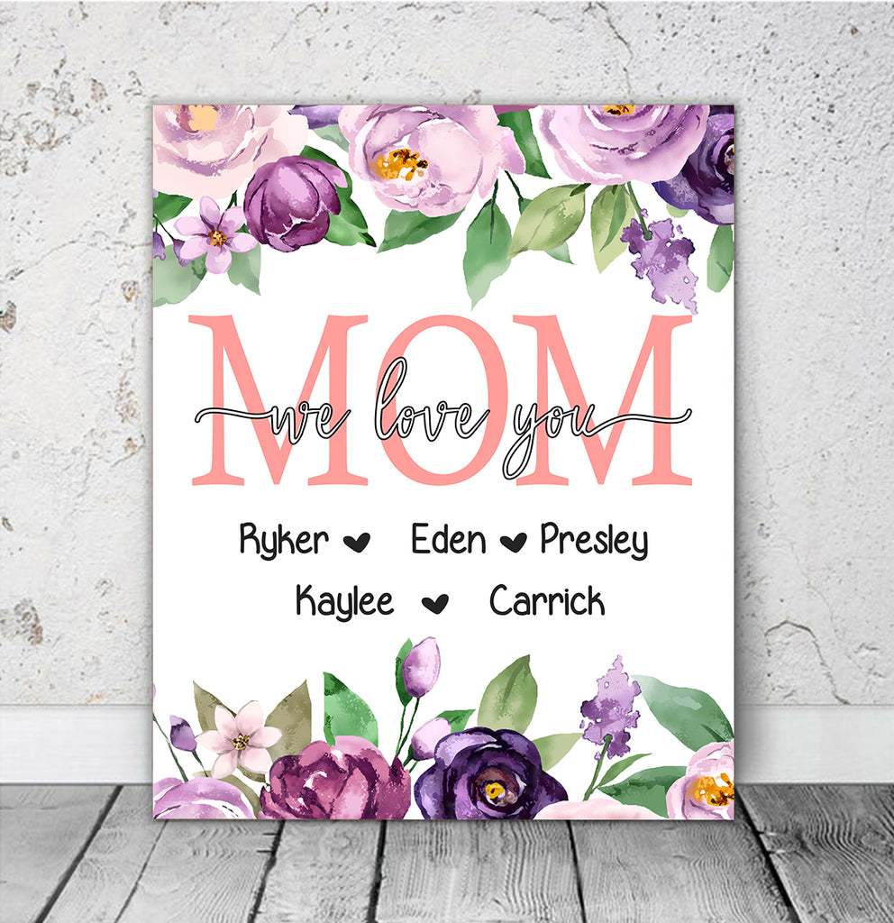 Personalized Nickname & Kids' Names Purple Floral Canvas Wall Art