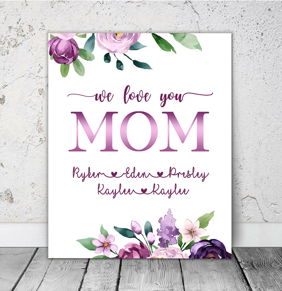 Custom Nickname & Kids' Names Purple Floral Canvas Wall Art