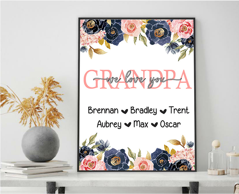 Personalized Nickname & Kids' Names Navy Floral Canvas Wall Art
